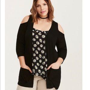 Cold Shoulder Cardigan w/ Pockets - Torrid Size 00